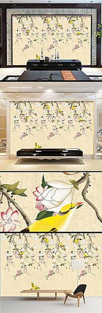 新中式工笔玉兰花鸟壁纸电视背景墙