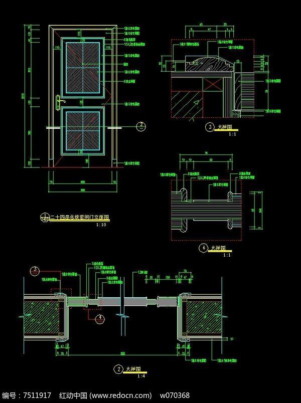 总统套房门CAD施工详图图片