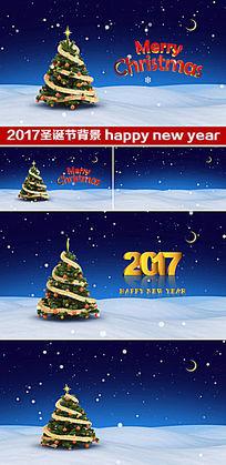 2017新年快乐圣诞节背景圣诞树视频