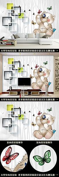 3D小熊蝴蝶花树林背景墙