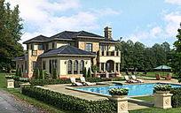 别墅泳池绿化景观效果图