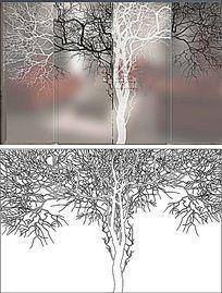 黑白树镂空树雕刻图案