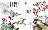 花鸟鱼虫工笔画背景墙