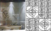 玫瑰瓷砖雕刻图案