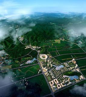 大学校园规划方案总平面图 现代建筑校园规划模型 校园规划一角su