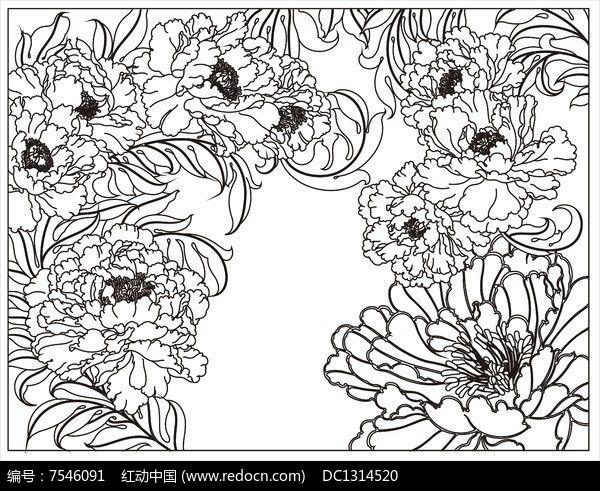 牡丹花雕刻图案图片
