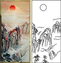 山水画太阳雕刻图案