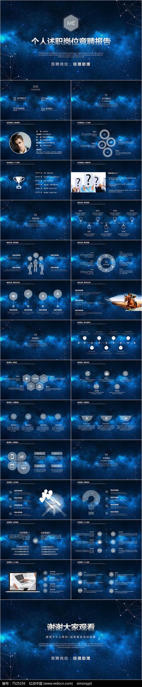 星空科技个人岗位竞聘ppt模板