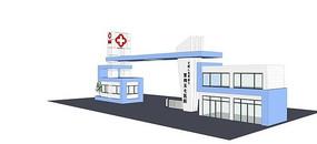 医院入口大门模型
