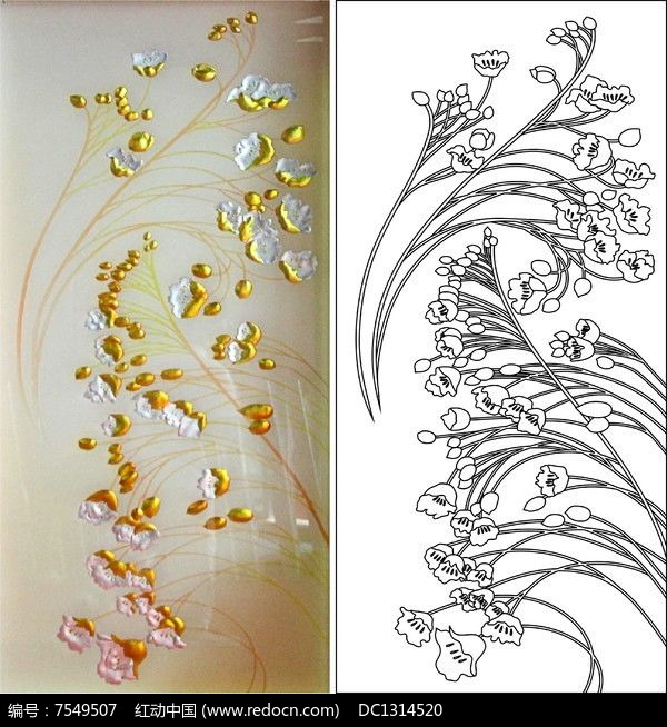 郁金香罂粟花雕刻图案