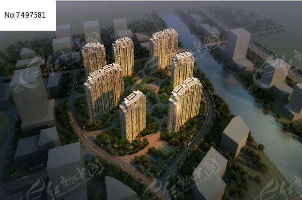 滨水住宅绿化鸟瞰图片