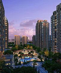 高层住宅景观效果图