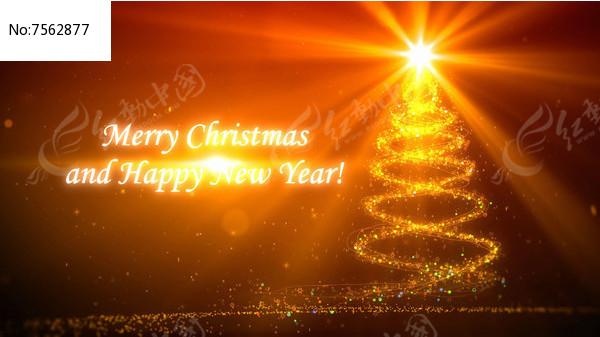 金黄色粒子圣诞节新年开场背景视频图片