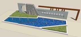 某学校入口水景花池 skp