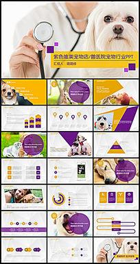 紫色简约唯美宠物医院宠物医生PPT模板