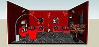 大红色客厅SU