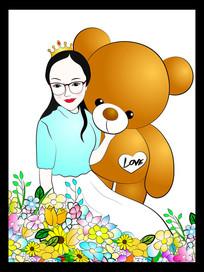 美女和熊手绘插画
