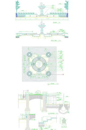 欧式雕塑水钵喷泉施工图