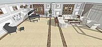 欧式风格客厅带钢琴