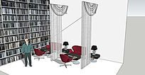 书吧阅读室休闲餐厅室内模型