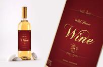 中国红土豪金红酒瓶贴