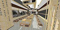 中式餐厅店面室内模型