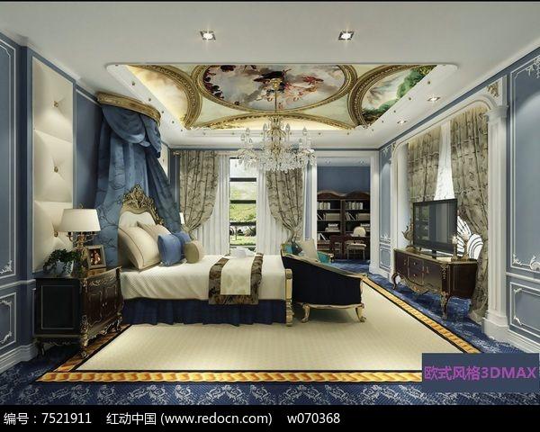 主卧室欧式风格3dmax模型素材下载附贴图
