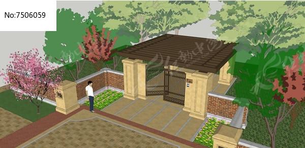住宅区入口模型图片