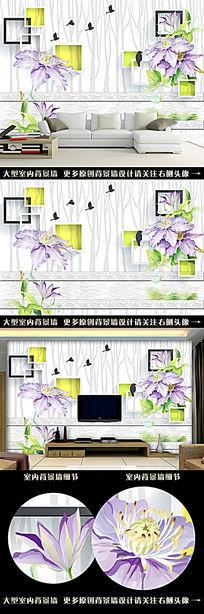 3D森林水彩花电视背景墙