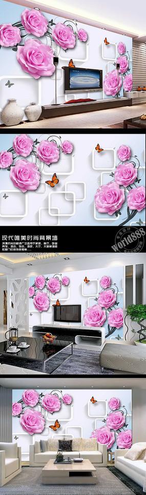 粉色玫瑰透明方框时尚3D背景墙