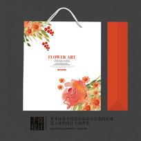精品外贸水果店花卉包装手提袋设计