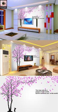 浪漫爱心树樱花树电视背景墙