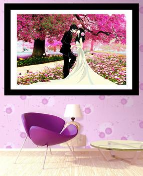 浪漫花海幸福婚礼装饰画