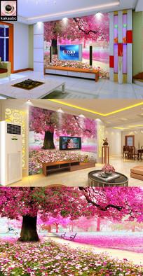 浪漫樱花树粉色大树电视背景墙