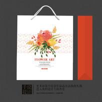 手绘风格花卉包装手提袋设计