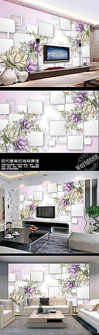 手绘花朵淡彩花立体方块时尚3D背景墙