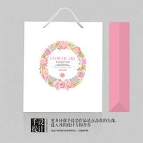 唯美花卉花环礼品手提袋设计