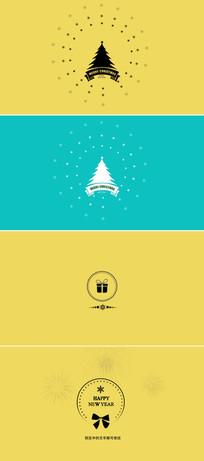 简洁圣诞节新年贺卡ae模版