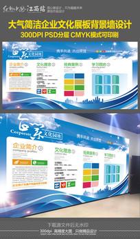蓝色简洁企业文化宣传展板背景墙设计