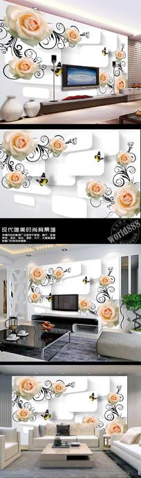 白色玫瑰立体空间3D时尚背景墙