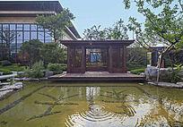 池塘边景观构架意向