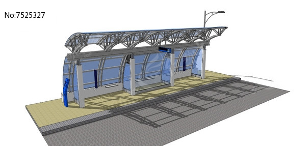 钢结构公交站skp素材下载_交通工具|设施设计图片