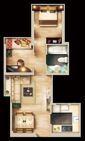 高档精致单身公寓彩色平面