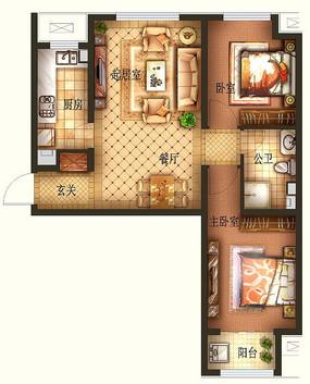 高清两室一厅户型图