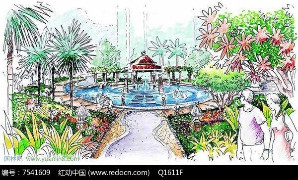 原创设计稿 方案意向 手绘素材 公园喷泉