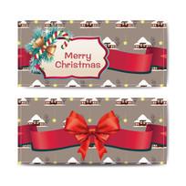 红色蝴蝶结圣诞节邀请卡