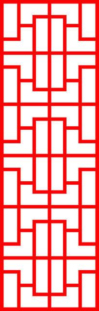 简单的中式屏风装饰图案