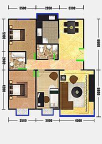 两厅三室两卫户型彩平