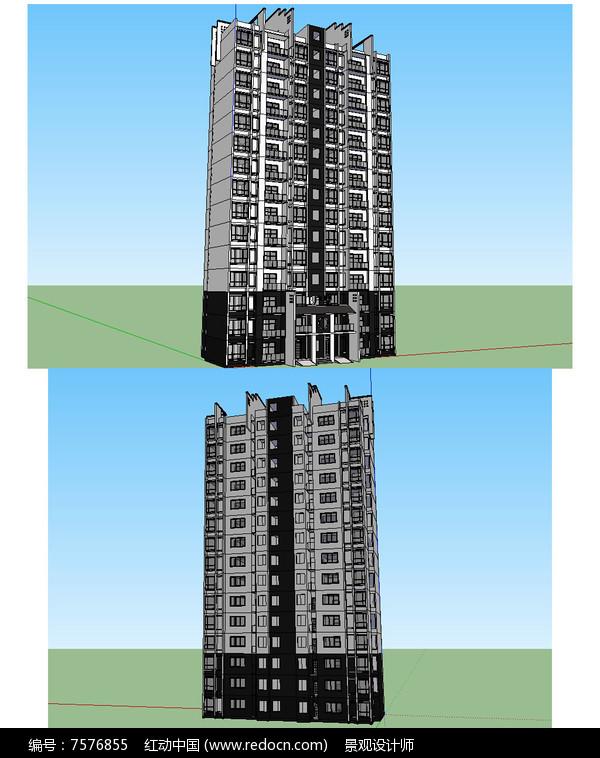 新中式风格住宅建筑草图大师SU模型图片