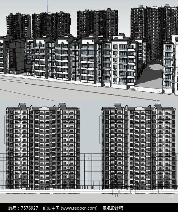 扬州新中式住宅模型建筑草图大师SU模型图片